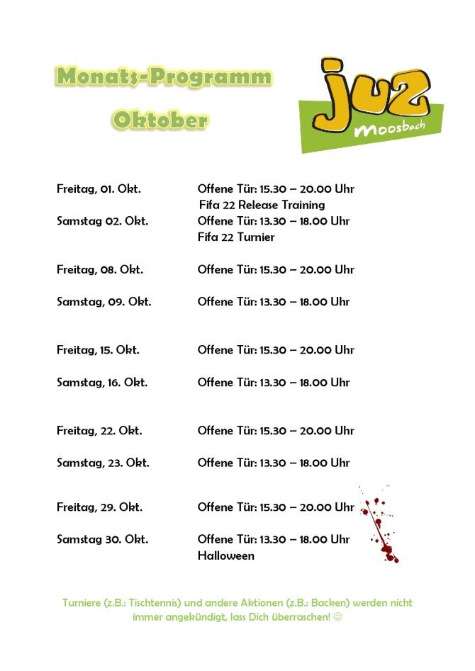 Monatsprogramm Oktober 21
